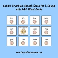 Cookie Crumbles Speech Game for L Sound with 240 Word Cards Speech Therapy Games, Speech Language Pathology, Therapy Activities, Therapy Ideas, Speech And Language, Picture Cards, Cookie, Posts, Blog