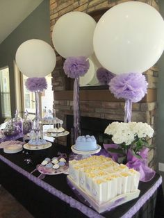 Lavender Baby Shower balloons, pompoms and frilly ribbons
