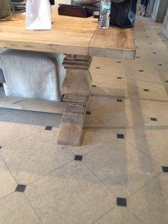 Restoration hardware, honed limestone flooring.