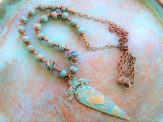 Turquoise necklace Patina Turquoise boho wedding Boho beach