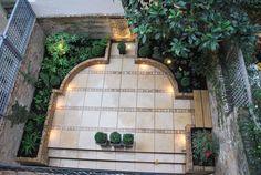 Nice shape for a courtyard terrace. Courtyard Restaurant, Element Lighting, Porte Cochere, Garden Inspiration, Garden Ideas, Lanai, Winter Garden, Garden Paths, The Great Outdoors