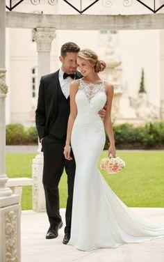 Elegant Appliques Lace Mermaid Wedding Dresses 2017 Bridal Dresses Scoop Off Shoulder Button Back Sweep Train Vestido De Noiva