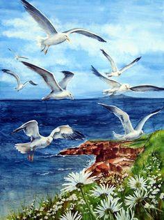 Helene Charland WATERCOLOR | Seagull birds flying on the coast | Coastal art
