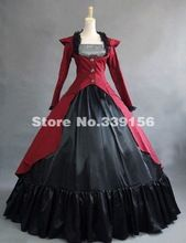 High Quality Wine Red Cotton Gothic Victorian Edwardian Gown Period Dress Steampunk Costume(China (Mainland))