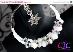 END of YEAR SALE Handmade White Snowflake Hoop by CICinspireme, $16.80