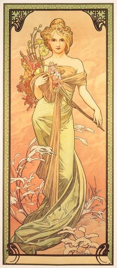 ❤ - Alphonse Mucha | The Seasons, Spring - 1898.