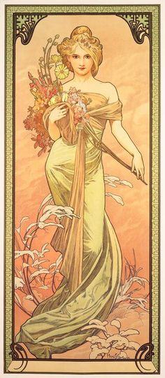 ❤ - Alphonse Mucha | The Seasons, Spring - 1898.