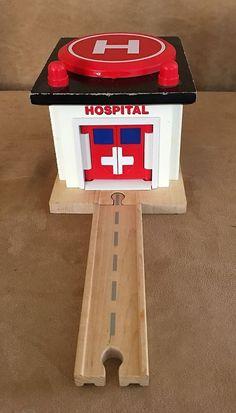 Rescue Hospital Thomas wooden train set Learning Curve helipad building wood #LearningCurve