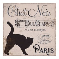 I need this poster.  Vintage francés, Chat Noir, París Poster