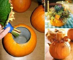 Flower container: Cut the center out of a pumpkin, faux or real. Add an empty tin can. Fill with flowers and water. Or add a candle and some festive embellishments