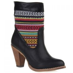 Ethnic Style Splicing and Chunky Heel Design Women's Short Boots