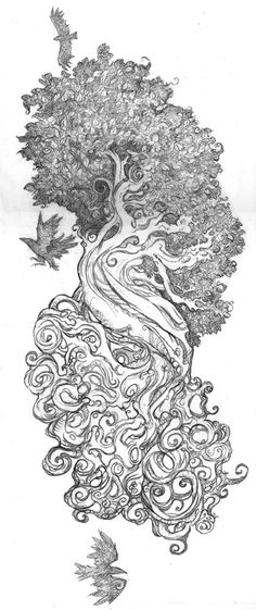 Very interesting interpretation of Yggdrasil. I especially love Odins crows! Something like this would make a beautiful tattoo.