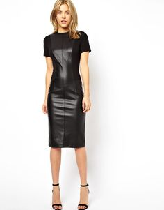 Buy ASOS Pencil Dress With Leather Look Panels at ASOS. Get the latest trends with ASOS now. Black Leather Dresses, Black Midi Dress, Asos Dress, Bodycon Dress, Sheath Dress, Vestido Asos, Valentines Day Dresses, Pencil Dress, Leather Fashion