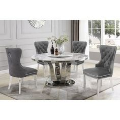Shop for Best Quality Furniture Dining Set w/ Faux Marble Table Top and Lazy Susan. Get free delivery On EVERYTHING* Overstock - Your Online Furniture Shop! Marble Top Dining Table, Solid Wood Dining Set, 5 Piece Dining Set, Dining Room Furniture, Dining Room Table, Kitchen Table Sets, Furniture Sets, Breakfast Nook Dining Set, Design Case