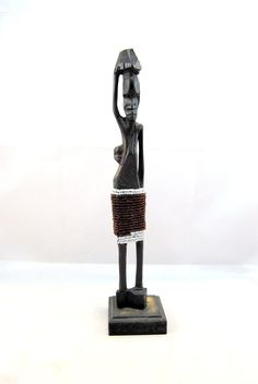 Vintage ebony african figure, african statuette, carved african figure, handmade figure, african art, wooden art, Home decor, carving by Scandicreations on Etsy