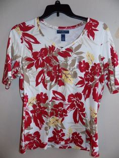 NEW Womens shirt size 0X floral Karen Scott New Red Amore new with tags #KarenScott #Blouse