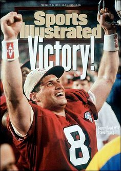 Sports Illustrated Cover Of Steve Young Celebrating The San Francisco Vict… Sports Illustrated Cover Of Steve Young Celebrating The San Francisco Victory In Super Bowl XXIX Nfl 49ers, 49ers Fans, 49ers Players, San Francisco 49ers, Byu Football, American Football, Watch Football, Football Baby, Super Bowl