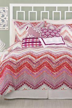 Chevron Dots XL Twin Duvet - Red/Pink on HauteLook