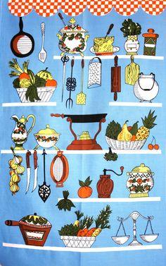 Retro Kitchenalia Tea Towel  70s Kitchen Fruits by FunkyKoala