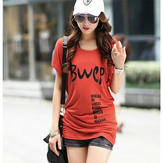 Women's+Casual/Print/Cute/Plus+Sizes+Micro-elastic+Short+Sleeve+Long+T-shirt+(Cotton)+–+USD+$+16.99