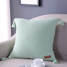IHEARTYOU Decorative Cushion Case Soft Knitted Square Pillow Cover 100% Cotton Pillow Case Throw Pillowcase 18x18 Inch with Tassels in Corners 5 Colors NOT INCLUDING INSERT Mint Green ** Be sure to check out this awesome product. (This is an affiliate link and I receive a commission for the sales)