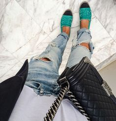 Chanel espadrilles and boy bag.