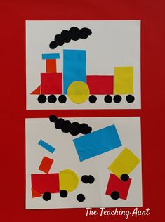 Train Shapes Pasting: Art and Craft for Toddlers - The Teaching Aunt for toddlers room ideas stick crafts crafts Train Crafts Preschool, Trains Preschool, Toddler Crafts, Preschool Crafts, Preschool Painting, Art Activities For Toddlers, Transportation Activities, Eyfs Activities, Train Activities