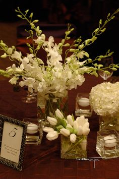 White flower centerpieces: orchids, tulips, tulip   the Westin Atlanta North | Anik Designs