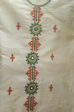 Neck pattern by vivian Kurti Embroidery Design, Embroidery Neck Designs, Hand Embroidery Flowers, Bead Embroidery Patterns, Hand Work Embroidery, Creative Embroidery, Diy Embroidery, Embroidery Stitches, Kutch Work Designs