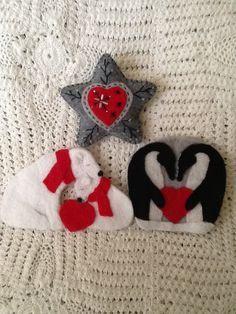 polar bears, penguins, & star felt ornaments...