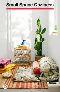 Faux plants add the perfect finishing touch to a comfy floor seating situation. College Bedroom Decor, Living Room Decor, Zen Room, Dorm Essentials, Floor Seating, Faux Plants, Dorm Decorations, Interiores Design, Classroom Decor