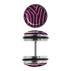 Steel Faux Plugs with Pink Zebra Stripe Fronts. Sold as a pair Fake Plugs, Cheaters, Pink Zebra, Spikes, Innovation Design, Body Jewelry, Steel, Black And White, Stuff To Buy