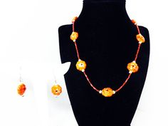 New Listings Daily - Follow Us for UpDates -  Pre Holiday Sale!!! Shop NOW and SAVE! Pumpkin Orange Necklace & Earrings Set - Pierced Earrings and Princess Length Necklace - Demi Parure - #Vintage 1970's 1980's offered ... #vintage #jewelry #teamlove #etsyretwt #ecochic #thejewelseeker