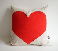Sukan / Red Heart Pillow Cover - Raw Linen Pillow - Decorative Pillow - Accent Pillow - 16x16 inch. $35.60, via Etsy.