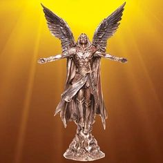 """Ascending Angel Statue from the flames of battle, this angel spreads his wings as a sign that good will always triumph over evil. Resin statue with an antiqued bronze finish.  Statue stands 10-3/4 tall and is 6"""" wide.   #Valentines gift for him #valentines gift"""