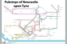 Tube inspired Pubstops map of Newcastle upon Tyne