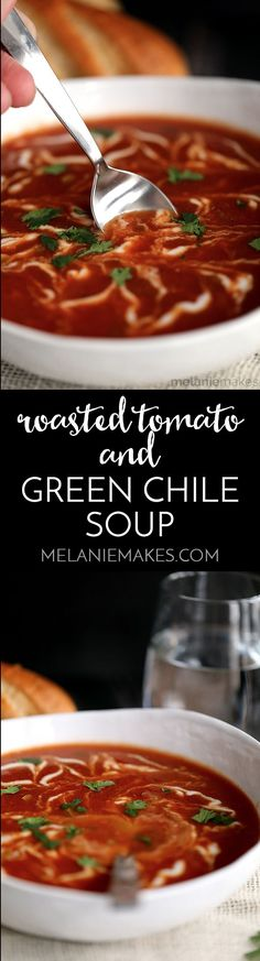 My Roasted Tomato and Green Chile Soup is a Mexican spin on your childhood favorite and guaranteed to ward off winter's chill. Roasted tomatoes, green onions, carrots and green chiles provide the base flavors for this homemade soup that's better than anything you'll find in a can.