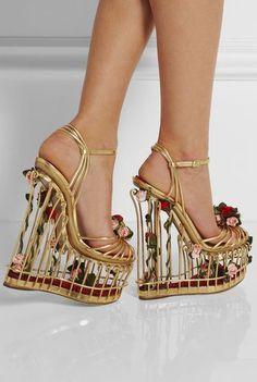 Dolce and Gabanna Rose-embellished metallic leather cage sandals Caged Shoes, Caged Sandals, Ankle Strap Sandals, Wedge Sandals, Summer Sandals, Dolce & Gabbana, Mode 3d, Mode Rose, Frauen In High Heels