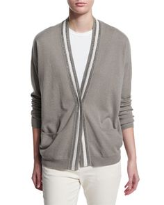W0A5K Brunello Cucinelli Rugby-Striped 2-Ply Cashmere Cardigan, Green