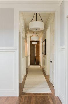 Trim paint color is Benjamin Moore White Dove. Wall paint color is Benjamin Moore Cement Gray Trim Paint Color, Wall Paint Colors, Bedroom Walls, Bedroom Doors, Master Bedroom, Hall Lighting, Lighting Ideas, Lighting Concepts, Entrance Foyer