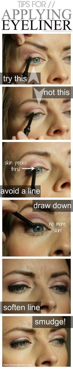 I totally disagree with pulling your skin to apply eyeliner. Pulling the skin makes for a possible uneven eyeliner. Eyeliner Hacks, How To Apply Eyeliner, Pencil Eyeliner, Applying Eyeliner, Eyeliner Application, Black Eyeliner, Eyeliner Ideas, Flawless Foundation Application, Apply Foundation