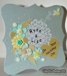 Handmade card made by me @ Lilibet's Monkey Hut. Die cut shells and flowers for a beach wedding.  (:(|)x