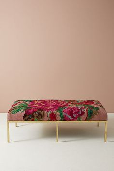 Floral Silk Carpet Ottoman | Anthropologie | $2000