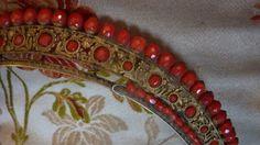 Antique French Empire gilt metal coral diadem comb Tiara