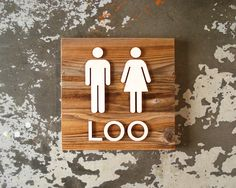 Custom 'loo' restroom sign, reclaimed barnwood with birch figures and text