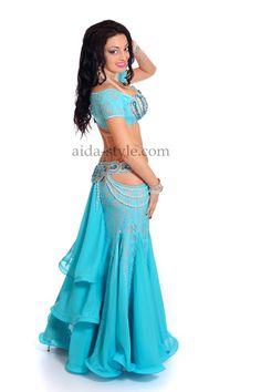 Blue professional belly dance dress