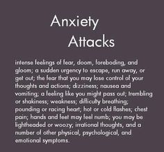 Symptoms of anxiety..
