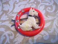 Vintage Scotty Dog Plastic Hair Barrette w by charmingellie, $18.00