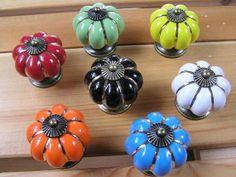 Ceramic Kitchen Cabinet Knobs Dresser Drawer Knobs Pulls Handles / Blue Red Green White Black Orange Yellow Antique Bronze Hardware