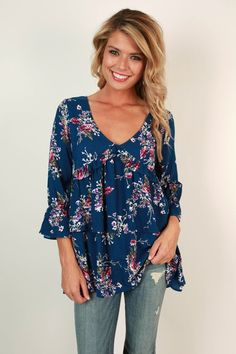 Southern Sangria Babydoll Top in Blue Love the colors and the sleeves. Casual loose fit.